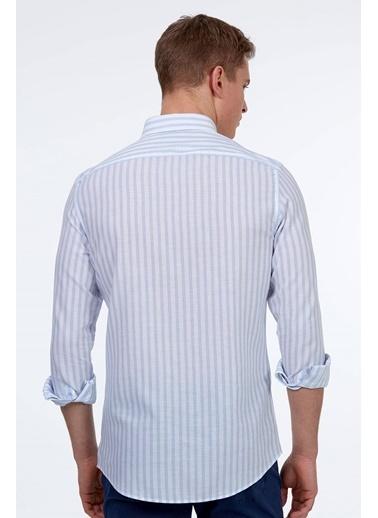 Hemington Çizgili Uzun Kollu Gömlek Mavi